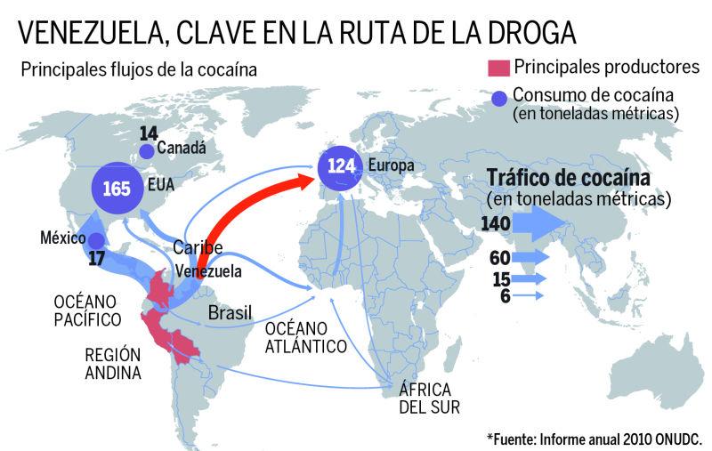 Venezuela, escala del narcotráfico a Europa